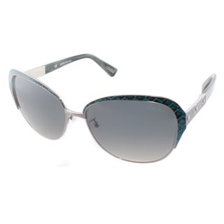 Lanvin Women's SLN 035N 0K20 Gunmetal And Blue Leather Cat Eye Sunglasses