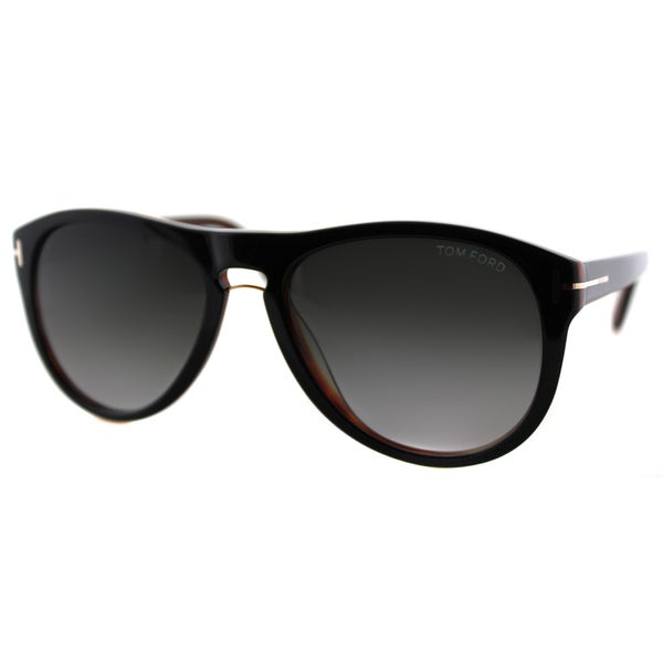 Tom Ford Men's Kurt TF 347 01V Shiny Black On Tortoise Plastic Aviator Sunglasses