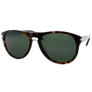 Tom Ford Men's Kurt TF 349 56R Classic Havana Plastic Aviator Sunglasses