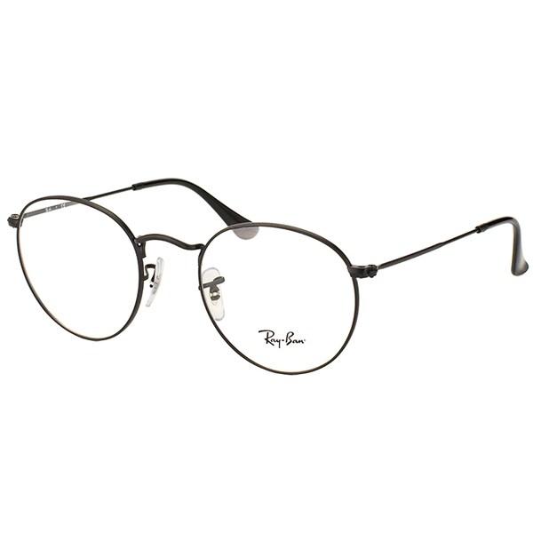 Ray Ban Unisex RX 3447V 2503 50mm Matte Black Round Metal Eyeglasses
