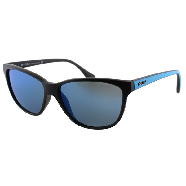 Vogue Eyewear Women's VO 2729S W44/55 Matte Black/ Transparent Blue Plastic Cat Eye Sunglasses