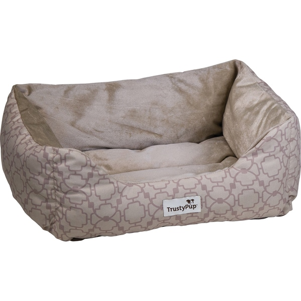 TrustyPup Cuddle Couch Pet Bed 15inX9inX7inGrated Lattice Almond