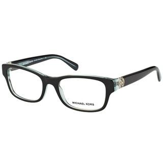 Michael Kors Ravenna Women's MK 8001 3001 Black On Blue Crystal Plastic Rectangle Eyeglasses