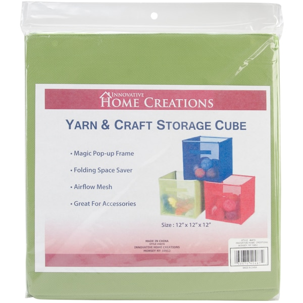 Yarn & Craft Storage Cube 12inX12inX12inLime Green