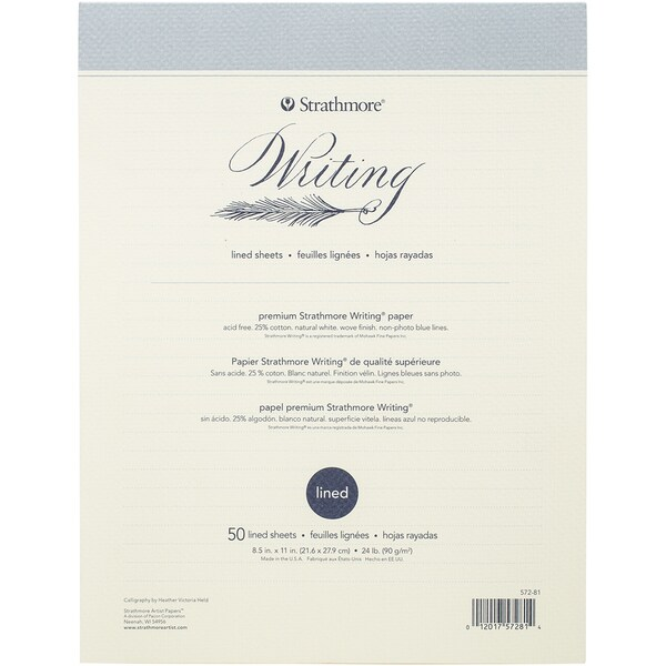 Strathmore Writing Pad Lined 8.5inX11in50 Sheet 24lb Natural White