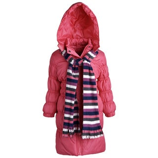 Sportoli Little Girls' Down Alternative Hooded Long Puffer Coat