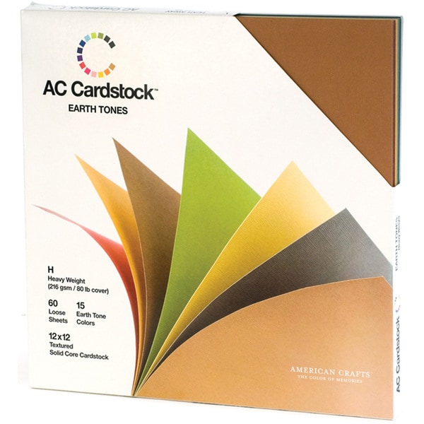 American Crafts Seasonal Cardstock Pack 12inX12in 60/PkgEarth Tones