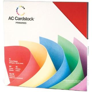 American Crafts Seasonal Cardstock Pack 12inX12in 60/PkgPrimaries
