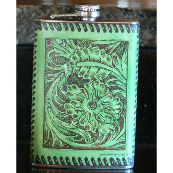 Cowboy Living 6378 Printed Tooled Leather (Lime) 8-ounce Flask