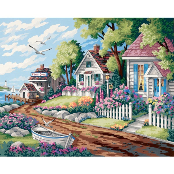 Paint Works Paint By Number Kit 20inX16inCottages By The Sea