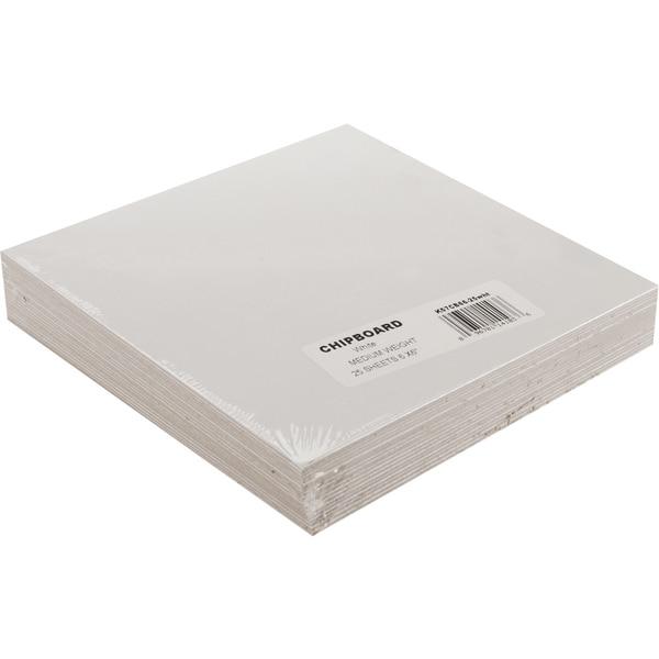 Medium Weight Chipboard Sheets 6inX6in 25/PkgWhite