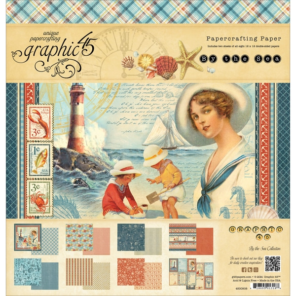 Graphic 45 DoubleSided Paper Pad 12inX12in 24/PkgBy The Sea, 3 Each Of 8 Designs