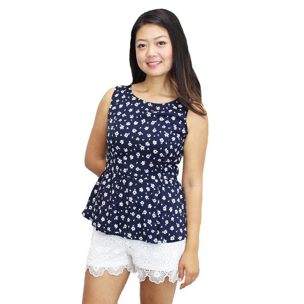 Relished Women's Relished Peppy Peplum Navy Top