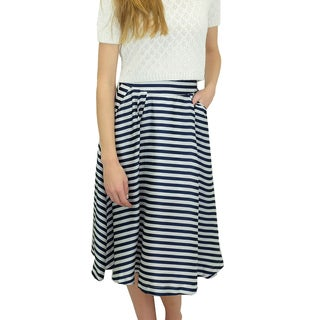 Relished Women's Relished Chelsea Striped Satin Midi Pocket Skirt