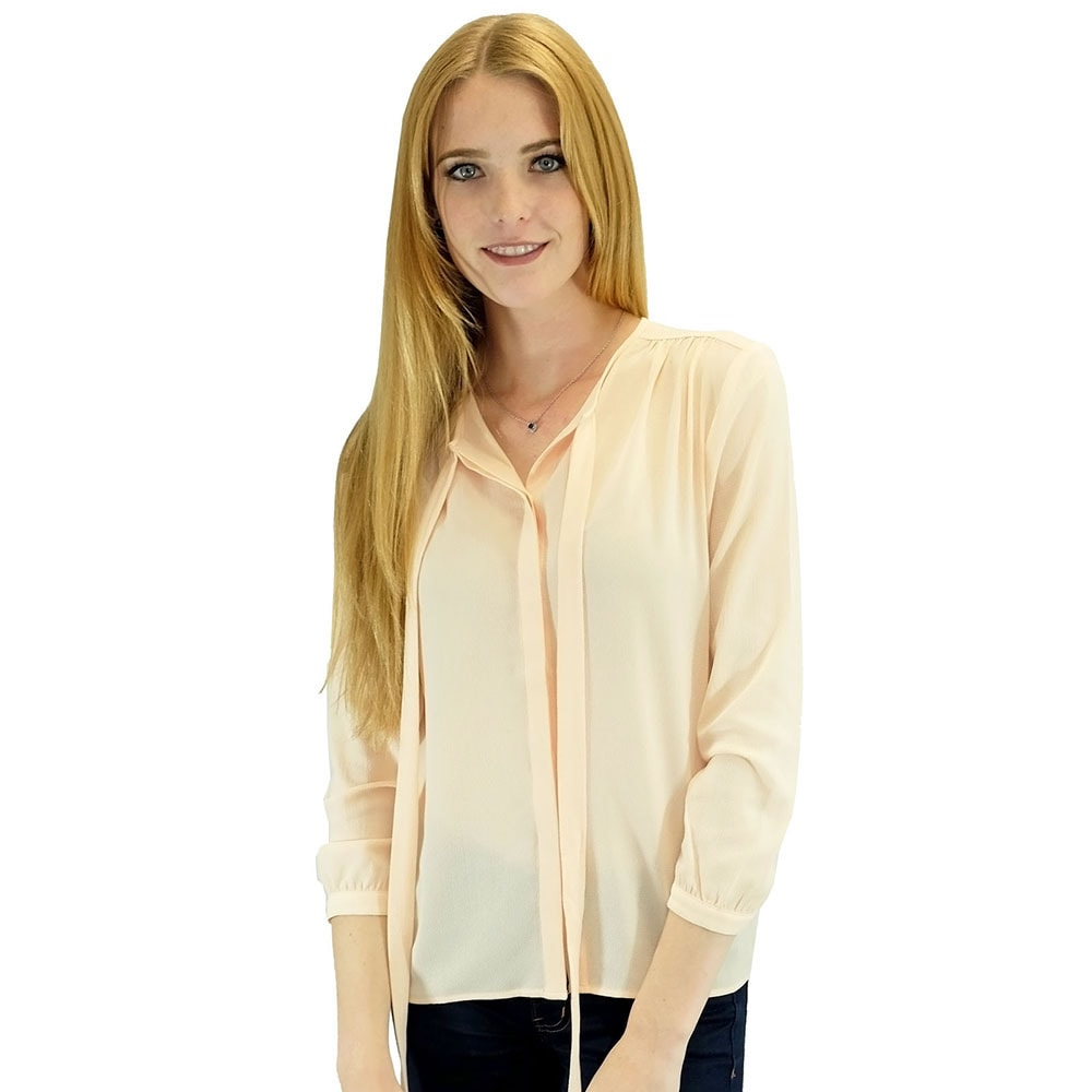 Overstock.com Relished Women's Contemporary Corinne Salmon Long Sleeve Blouse