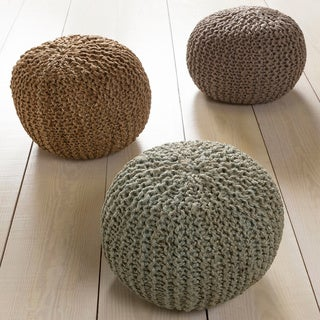 Solid Anne Round Jute 20-inch Pouf