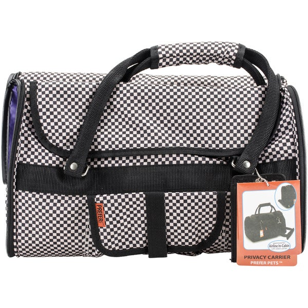 Prefer Pets Privacy Carrier 17inX12inX10inCheckered