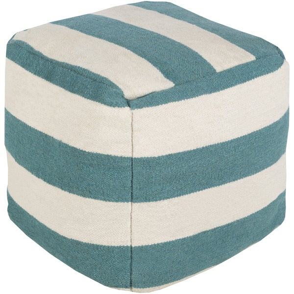Striped Lyle Square Wool 24-inch Pouf