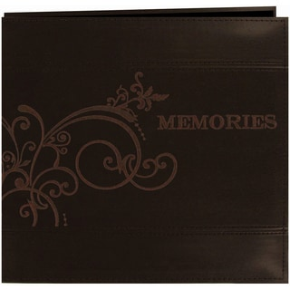 Embroidered Scroll Leatherette Post Bound Album 12inX12inBrown