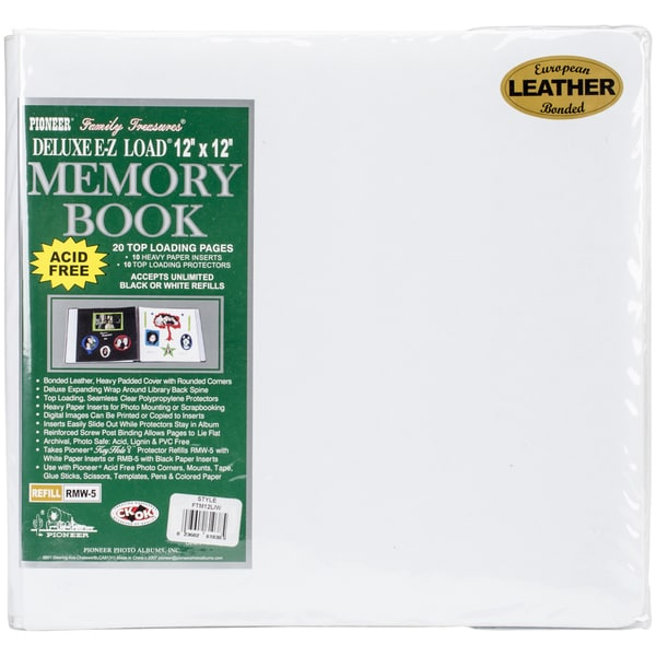 Deluxe Bonded Leather Scrapbook 12inX12inWhite