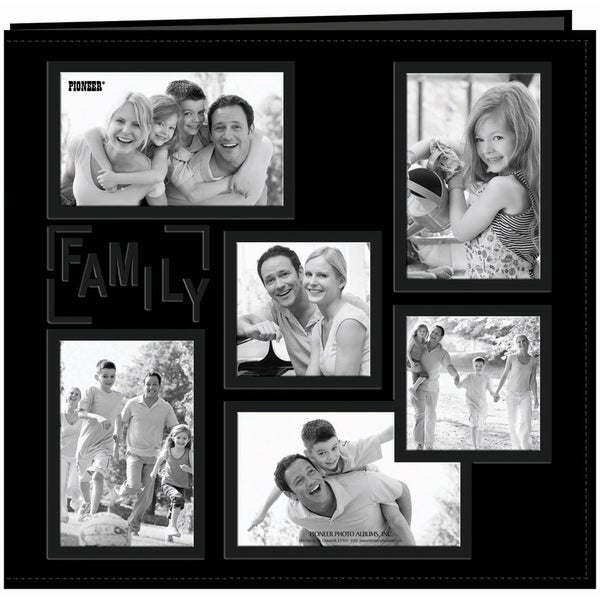 Sewn Embossed Collage Frame Post Bound Album 12inX12inFamily Black
