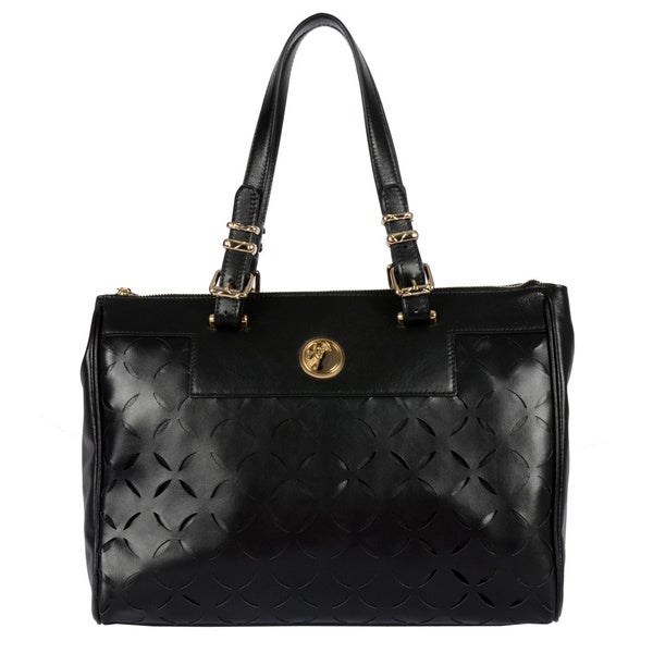 Versace Collection Ladies Laser Cut Tote in Black/ Gold (As Is Item)
