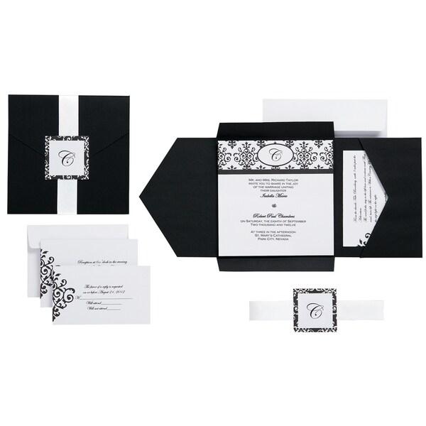Invitation Kit Makes 25Black & White Scroll Monogram