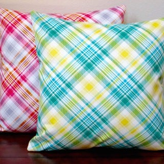 Artisan Pillows Indoor 20-inch Notting Hill Plaid Tartan Pink or Aquamarine 20-inch Throw Pillow