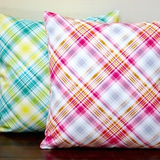 Artisan Pillows Indoor 20-inch Notting Hill Plaid Tartan Pink or Aquamarine 20-inch Throw Pillow Cover