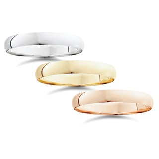 14k White Yellow And Rose Gold 4mm Plain Wedding Band
