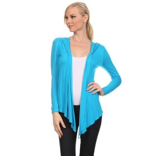 Women's Solid Open Front Cardigan with Hood
