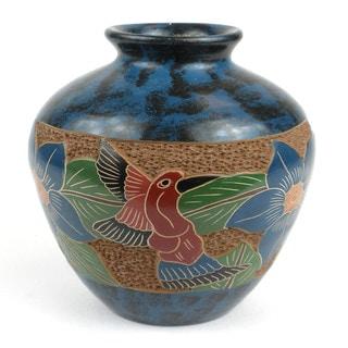 Handmade 5-inch Tall Vase - Bird Design (Nicaragua)