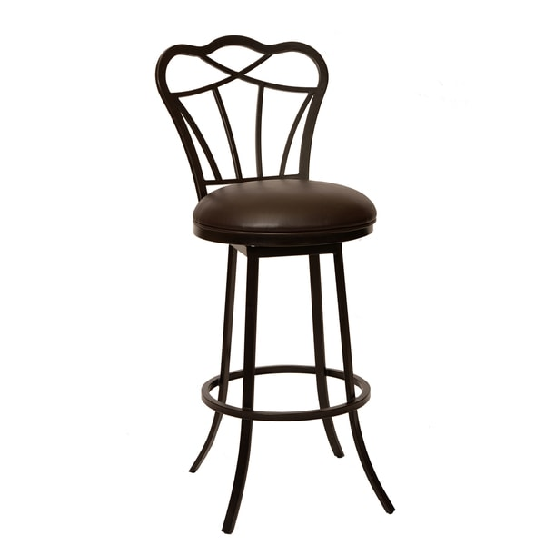 Galvin 30-inch Transitional Barstool In Coffee with Leatherette Seat