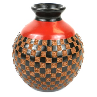 Handmade 6-inch Tall Vase - Checkered Relief Design (Nicaragua)