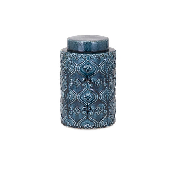 Iris Blue Small Ceramic Canister