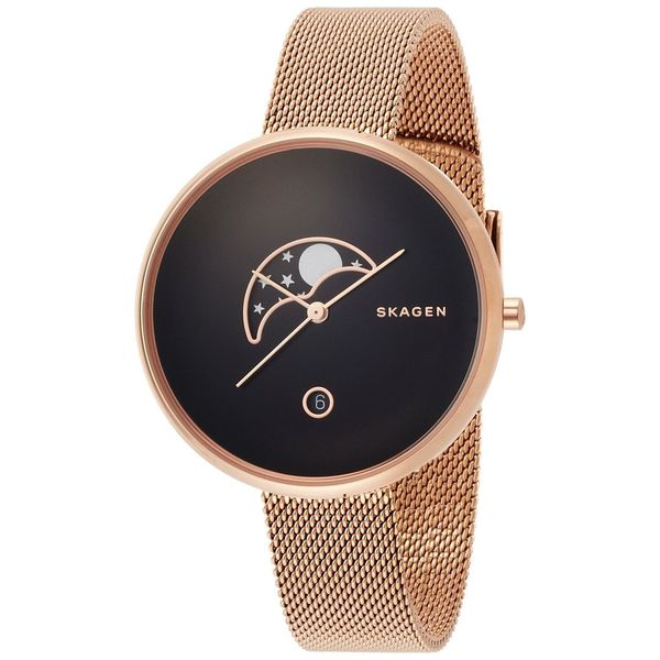 Skagen Women's SKW2371 'Gitte' Moon Phase Rose-Tone Stainless Steel Watch