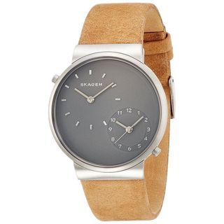 Skagen Men's SKW6190 'Ancher' Dual Time Brown Leather Watch