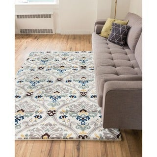 Woven Mano Floral Lattice Trellis Moroccan Geometric Shades of Grey Dark, Light Blue, Gold, and Brown Area Rug (5'3 x 7'3)