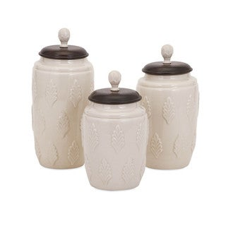 Beth Kushnick Cream Lidded Canisters (Set of 3)