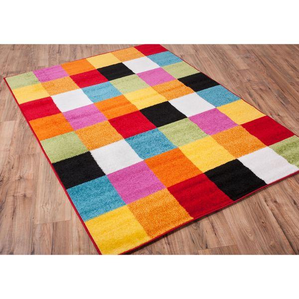 Woven Bright Geometric Square Multi Rug 7 10 X 10 6