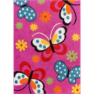Woven Bright Kids Butterflies Pink, Blue, Green, Yellow, and Orange Floral Playroom Family Room Area Rug (5' x 7')