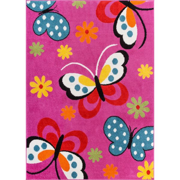 Woven Bright Kids Butterflies Pink Rug (5' x 7')