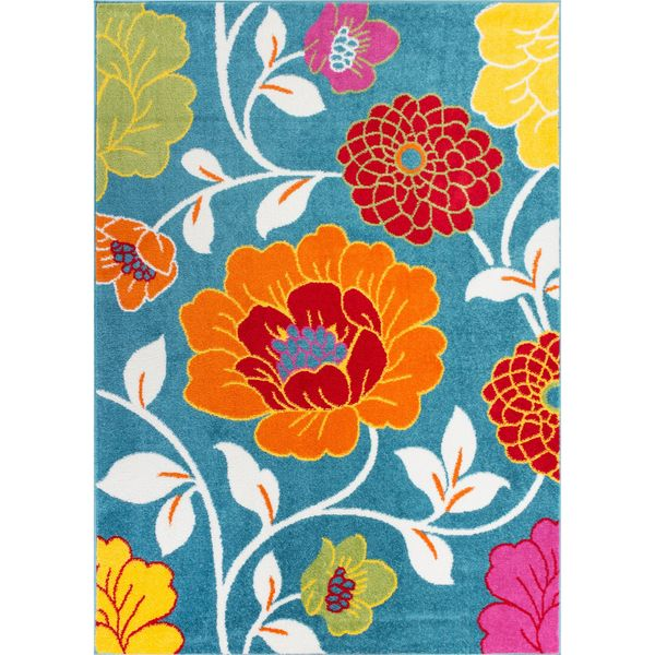 Woven Bright Bright Flowers Blue Rug (5' x 7')