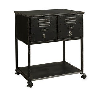 Alastor 2-drawer Contemporary Iron Rolling Cart Accent Table