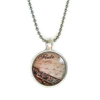 Atkinson Creations Flute Sheet Music Glass Dome Necklace