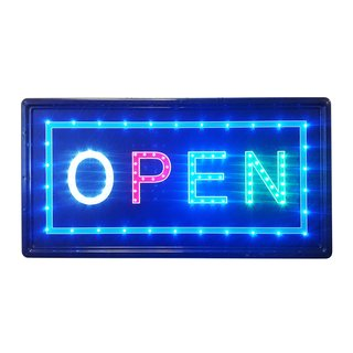 Constructor Open Sign with 10-inch x 19-inch Animated Motion LED Neon Light with On/ Off and 2 Way Animation Switchand Chain