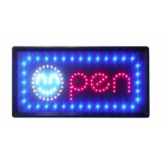 Constructor Smiley 10-inch x 19-inch Animated Motion LED Neon Light Open Sign with On/ Off and 2 Way Animation Switchand Chain