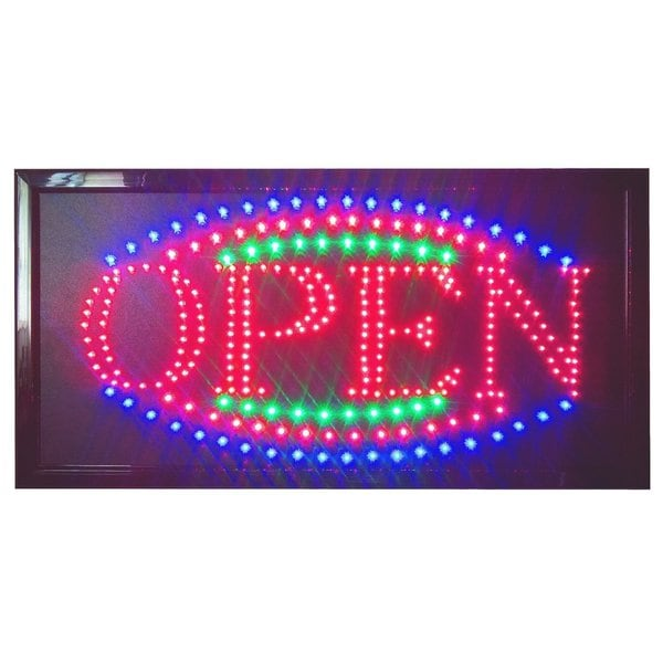 Constructor Color Large 12-inch x 23-inch Animated Motion LED Open Sign Neon Light 3 Chainand Way Animation Switch