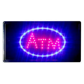 Constructor 10-inch x 19-inch ATM Sign Animated LED Neon Light with 2 On/ Off Switchesand Chain