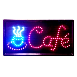 Constructor Cafe 10x19 Animated LED Neon Light Open Sign with 3-way Animation Switchand Chain